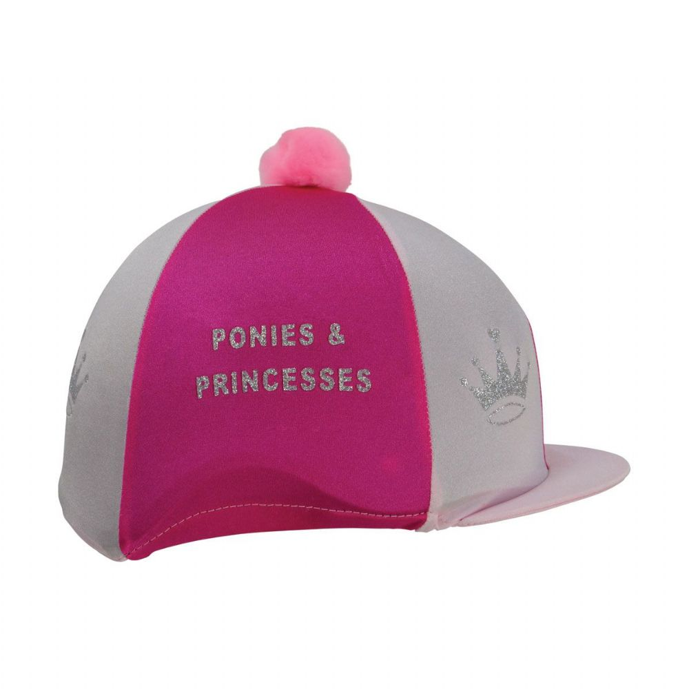 HyEquestrian Ponies & Princesses Hat Cover in Hot Pink/Pink & Silver